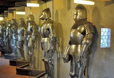 Armor of medieval knights at the museum. Medieval knights in armor museum, Golden Lane, Prague Royalty Free Stock Image