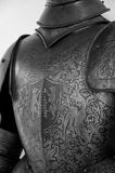 Armor medieval. Medieval armor in san leo town italy black and white Stock Images
