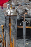 Armor and medieval weapons on display Stock Photography