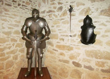 Armor of a medival knight. In the castle museum Stock Photography