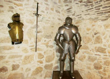 Armor of a medival knight. In the castle museum Stock Images