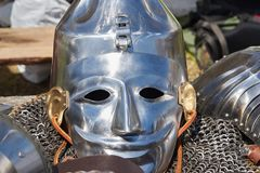 Armor of participants in the competition for the Medieval Battle. Тhеrе are a helmet and chain mail. Armor of participants in the competition for the stock photo