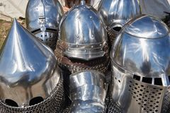 Armor of participants in the competition for the Medieval Battle. Тhеrе are helmets and chain mail. Armor of participants in the competition for the royalty free stock photos