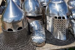 Armor of participants in the competition for the Medieval Battle. Тhеrе are helmets and chain mail. Armor of participants in the competition for the royalty free stock photography
