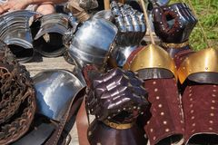 Armor of participants in the competition for the Medieval Battle. Тhеrе are metal mittens and bracers. Armor of participants in the competition for the royalty free stock image