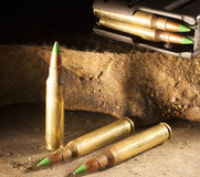 Armor piercing cartridges and magazine Royalty Free Stock Photos