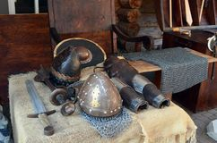 The armor of the Slavic Knight. Helmet, chain mail, sword and shield Stock Photography