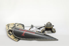 Toy Armour sword helmet of knight templar white background Royalty Free Stock Photography