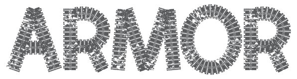 Armor text with the letters made of tank tracks Royalty Free Stock Photography