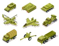 Free Armor Weapon Collection. Helicopter And Cannon, Volley Fire System And Infantry Fighting Vehicle, Tank Armored Truck Royalty Free Stock Image - 129442756