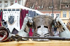 Armor and weapons at Medieval festival, Brasov Royalty Free Stock Photography