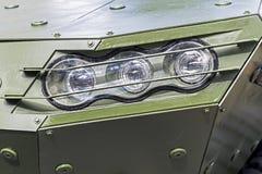 Armored деталь фронта военного транспортного средства - фара Стоковые Фото
