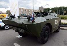 Armored рекогносцировка и патрульная машина BRDM-1 на выставке воинского оборудования стоковое фото rf