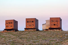 Armored bunkers for nuclear weapons testing. Atomic site on the Novaya Zemlya archipelago. Russia Royalty Free Stock Images