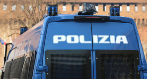 Armored car of the Italian police during the check. In the city Stock Image