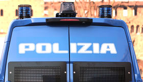 Armored car of the Italian police in checkpoint control Stock Images