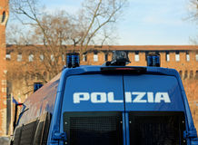 Armored car of the Italian police in checkpoint control. In the metropolis Stock Images