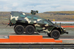Armored car. NIZHNY TAGIL, RUSSIA - SEP 26, 2013: The international exhibition of armament, military equipment and ammunition RUSSIA ARMS EXPO (RAE-2013). The stock photo