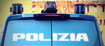 Armored car of the police in checkpoint control. Armored car of the Italian police in checkpoint control Stock Photography