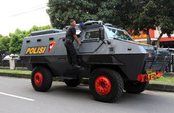 Armored car. Police prepare armored cars to anticipate security problems in the city of Solo, Central Java, Indonesia royalty free stock image