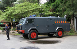 Armored car. Police prepare armored cars to anticipate security problems in the city of Solo, Central Java, Indonesia royalty free stock photos