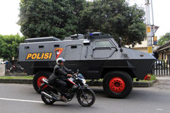 Armored car. Police prepare armored cars to anticipate security problems in the city of Solo, Central Java, Indonesia royalty free stock images