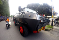 Armored car. Police prepare armored cars to anticipate security problems in the city of Solo, Central Java, Indonesia royalty free stock photo
