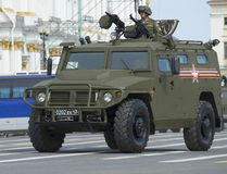 Armored car `Tigr` on rehearsal of parade in honor of Victory Day closeup. Saint Petersburg Royalty Free Stock Photo