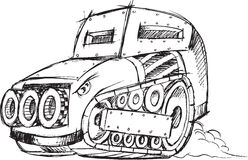 Armored Car Vehicle Sketch Stock Photography