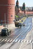 Armored cars with howitzers near the Kremlin wall Royalty Free Stock Photos