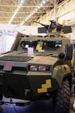 Armored cars production of KrAZ at the specialized exhibition. Kiev, Ukraine - October 12, 2017: Armored cars production  at the specialized exhibition `Arms and Royalty Free Stock Photos