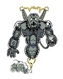 Armored comic book illustrated character sentry robot Stock Photo