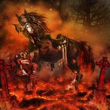 Armored demon horse Stock Images