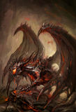 Armored dragon. Molten armored knight dragon on rock Royalty Free Stock Photography