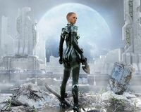 Armored female soldier posing in front of a futuristic city. vector illustration