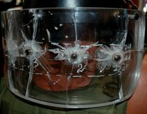 Armored glass with bullets Royalty Free Stock Images