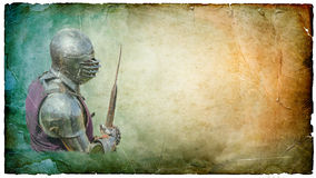 Armored knight with battle-axe - retro postcard. Armored knight with  battle-axe - retro postcard on landscape vintage paper background Royalty Free Stock Images