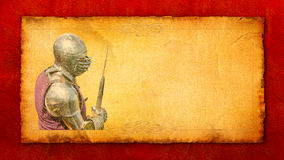 Armored knight with battle-axe - retro postcard Royalty Free Stock Images