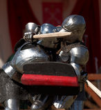 Armored knight during the battle Royalty Free Stock Images