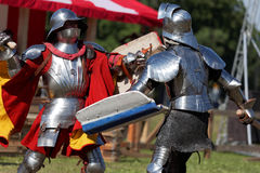 Armored knight during the battle Stock Photos