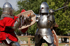 Armored knight during the battle Royalty Free Stock Photography