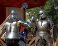Armored knight during the battle Royalty Free Stock Photos