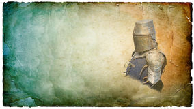 Armored knight in helmet with shield - retro postcard Stock Image