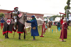 Armored knight participating in jousting Royalty Free Stock Photo
