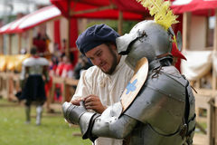 Armored knight preparing to the battle Stock Photo