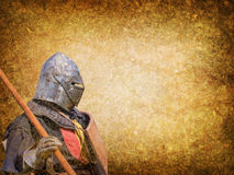 Armored knight - retro postcard Stock Image