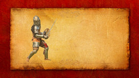 Armored knight with sword and shield - retro postcard Royalty Free Stock Photo