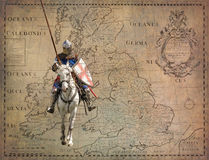 Armored knight on warhorse - retro postcard Stock Photos
