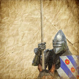 Armored knight on warhorse - retro postcard Stock Photography