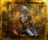 Armored knight on warhorse - retro postcard Royalty Free Stock Image